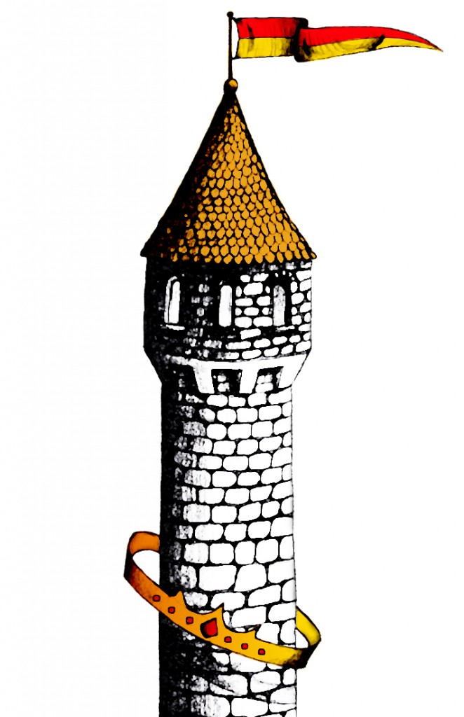 Castle tower encircled by a golden crown